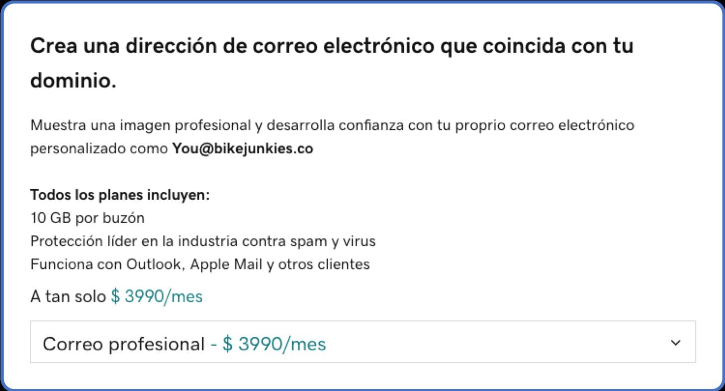 Precio dominio y correo empresarial en GoDaddy