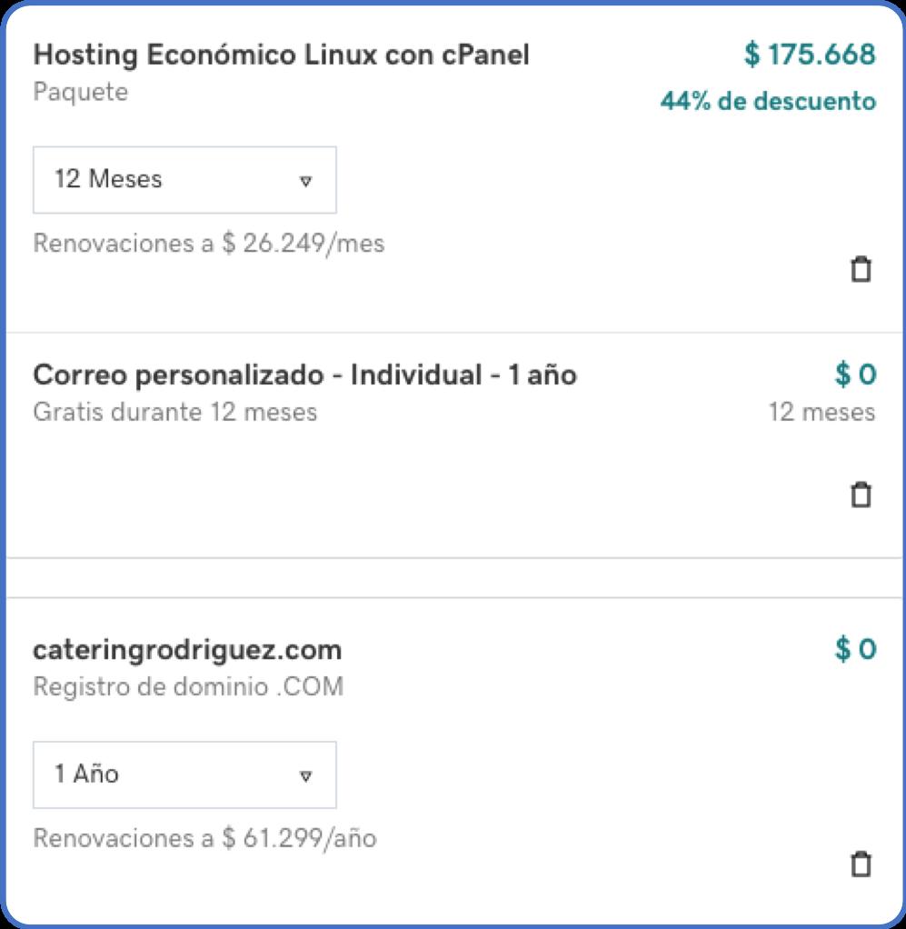 Precio hosting, dominio y correo en GoDaddy