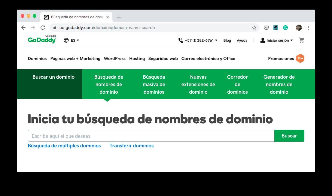GoDaddy ejemplo dominio de internet