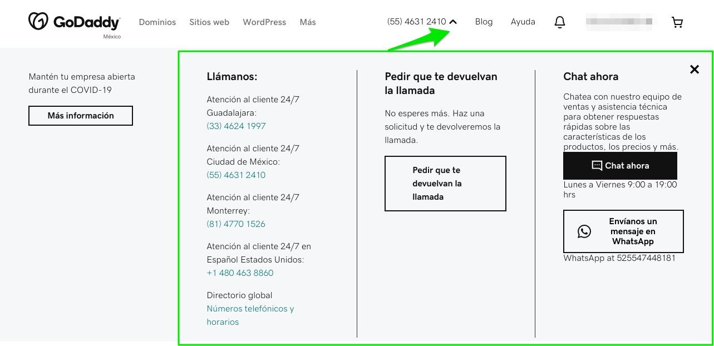 diseño web empresarial: datos de contacto en GoDaddy