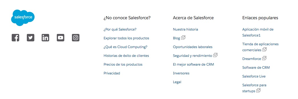 Salesforce: recursos en footer de sitio web corporativo