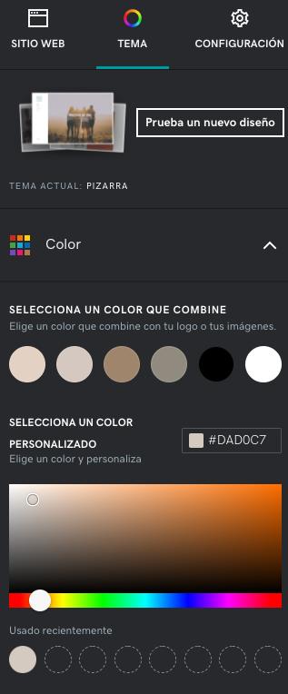 Panel de edición de color - Creador de tienda online GoDaddy.