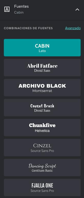 Panel de edición de fuente - Creador de tienda online GoDaddy.